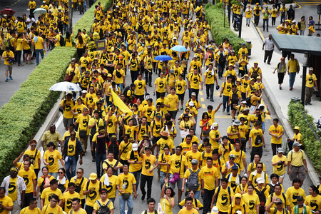 electoral system: Kuala Lumpur, Malaysia - November 19, 2016 - Rally goers march on during the Bersih 5 rally to call for a new and cleaner electoral system in Malaysia.