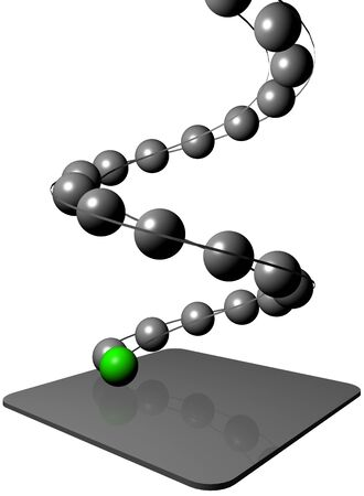 Image of 3d balls on the spiral path from top to bottom, accompanied by the leading one green  ball photo