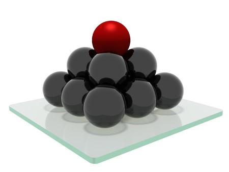 Pyramid wich consist from the mirrored balls with a red ball on top, standing on a glass base and isolated on a white background photo