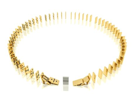 On a image  is shown golden dominoes which placed in a circle shape on a white background and mirror floor and especial domino bone because of which the dominoes effect  was started photo