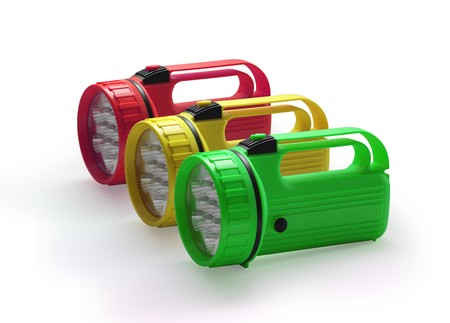 Emergency red yellow and green flashlight at row  on white background photo