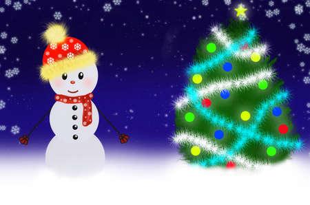 A children's picture of snowman scene Stock Photo - 8141751