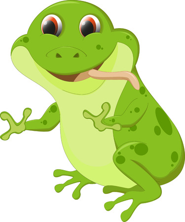 croaking: cute frog cartoon Illustration