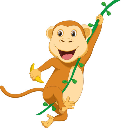 thumping: cute monkey cartoon hanging with banana
