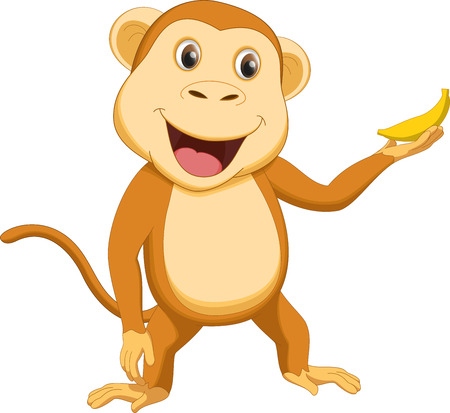 thumping: cute monkey cartoon with banana