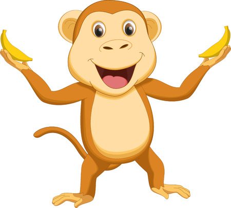 thumping: cute monkey cartoon with two banana