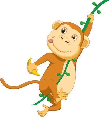 ivy hanging: cute monkey cartoon hanging with banana