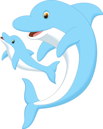 cute dolphin mother and baby Illustration