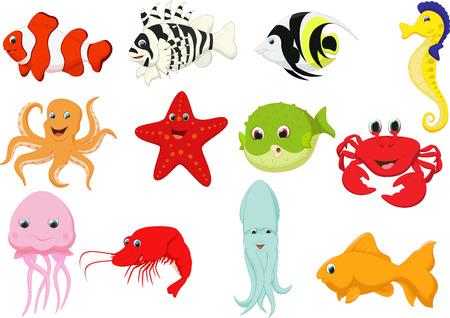 set of marine cartoon