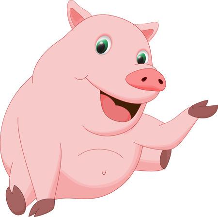 babyish: cute pig cartoon waving