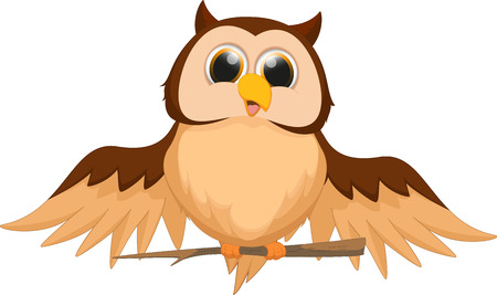 huge tree: cute owl cartoon Illustration
