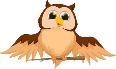 arbol pájaros: linda de la historieta del búho Vectores