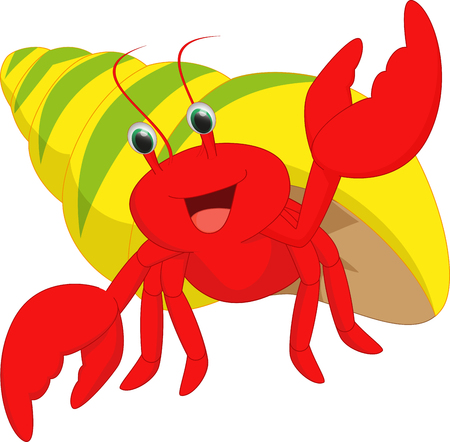 cute hermit crab cartoon