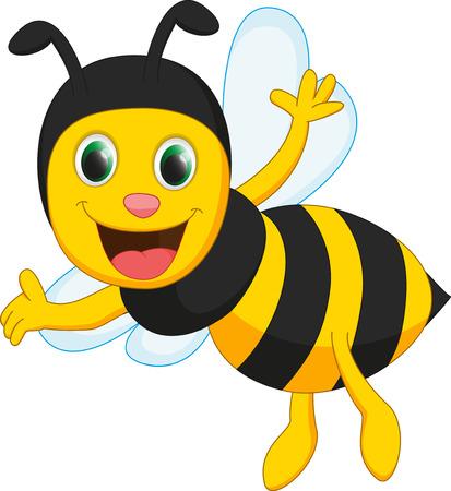 happy bee cartoon Vettoriali