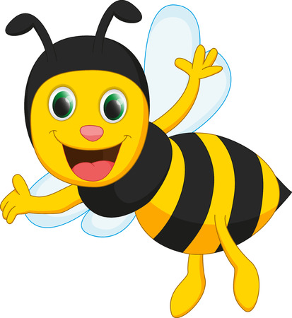 happy bee cartoon Vectores