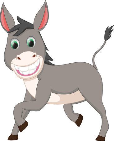 cute donkey cartoon Ilustracja