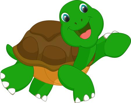 tortuga caricatura: de dibujos animados feliz tortuga