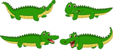 cartoon crocodile: set of crocodile cartoon