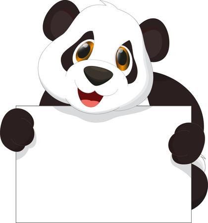 oso panda: de dibujos animados lindo de la panda que sostiene la muestra en blanco
