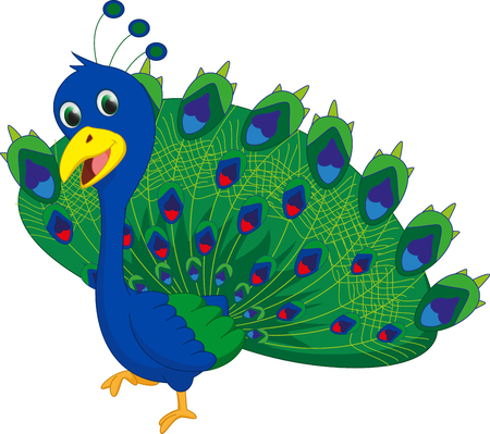 crown tail: cute peacock cartoon Illustration