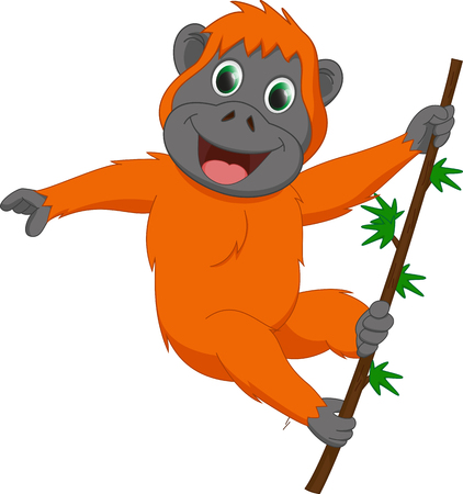cute orangutan cartoon hanging