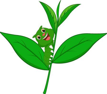 caterpillar cartoon: caterpillar cartoon climbing leaves