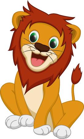 lion dessin: lion mignon dessin animé Illustration
