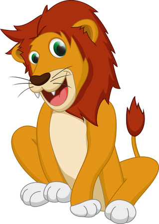 safari cartoon: cute lion cartoon Illustration