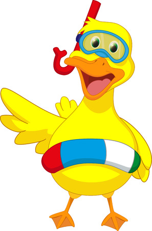 pool party: cute cartoon duck with buoys
