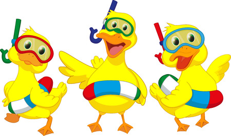 pato caricatura: pato de dibujos animados feliz con boyas Vectores