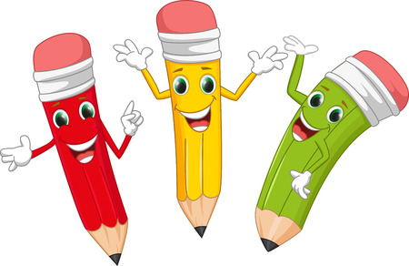 pen writing: happy pencil cartoon
