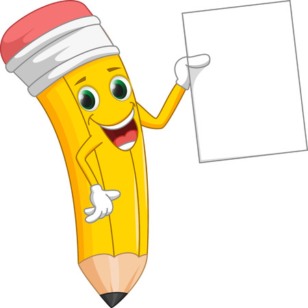 cute pencil cartoon with sign Illustration