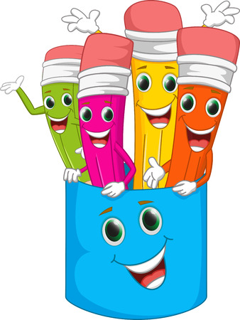 happy colorful cartoon pencil