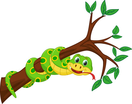 cute snake cartoon on branch Ilustracja