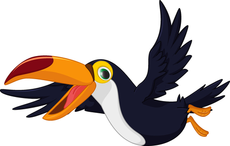 black bird: cute cartoon toucan bird flying