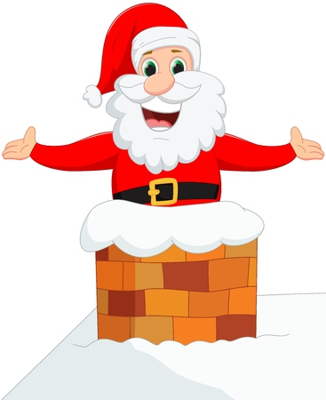 clip art santa claus: Happy Santa Claus down chimney Illustration