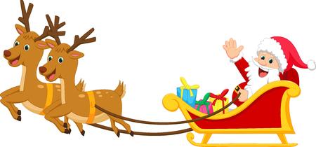 trineo: feliz de Papá Noel con su trineo