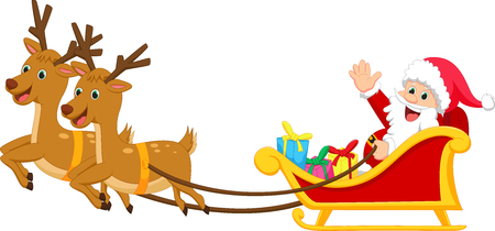 santa sleigh: happy Santa claus with his sleigh