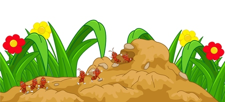 anthill: happy ant cartoon in the nest