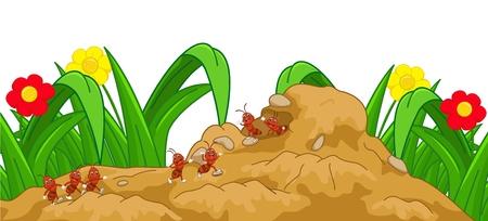 happy cartoon mier in het nest