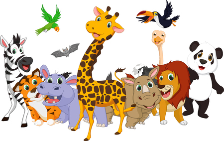 selva caricatura: de dibujos animados de animales salvajes