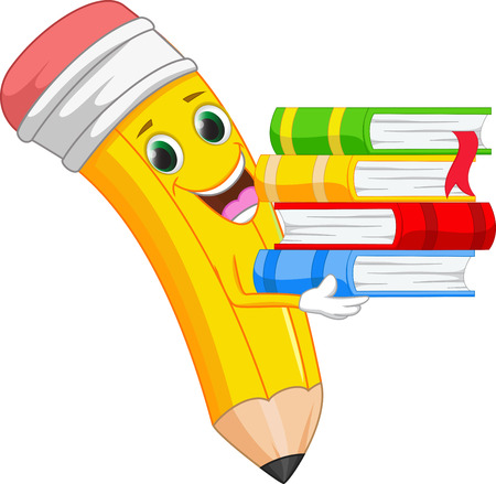 happy cartoon pencil bring a book Stock Illustratie
