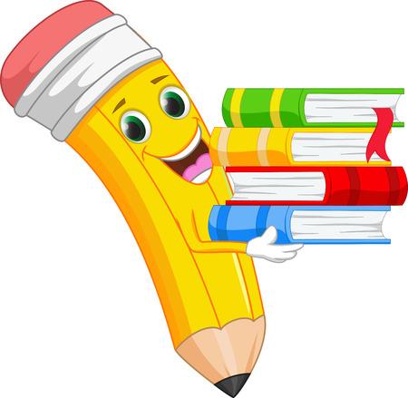 happy cartoon pencil bring a book Vectores