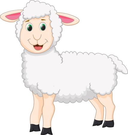 farm animals icons: cute sheep cartoon Illustration