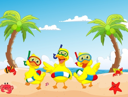 happy three cartoon duck on the beach summer