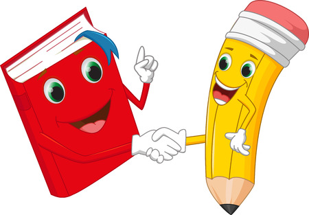pen writing: Cartoon pencil and books shake hands Illustration