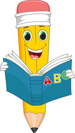 babyish: funny cartoon pencil reading a book Illustration