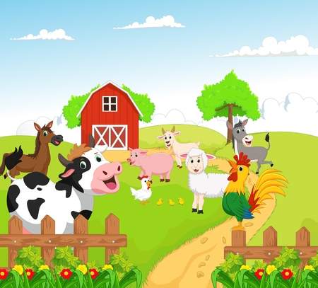 collection of farm animals with background 일러스트