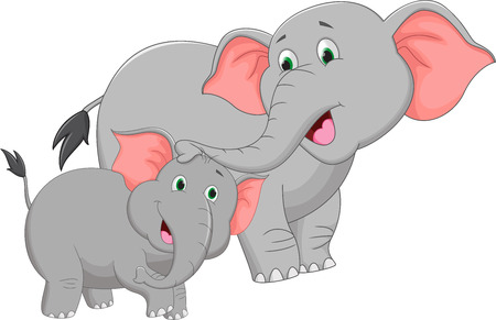 baby and mother: Mother and baby elephant cartoon