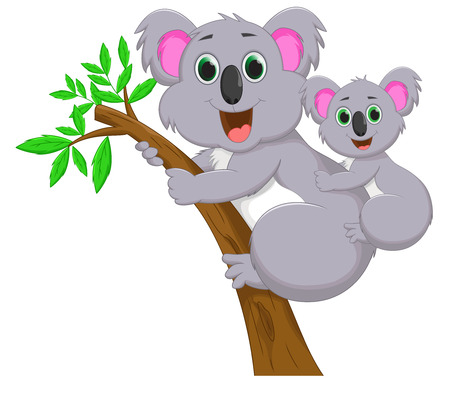 baby and mother: Mother and baby koala Illustration